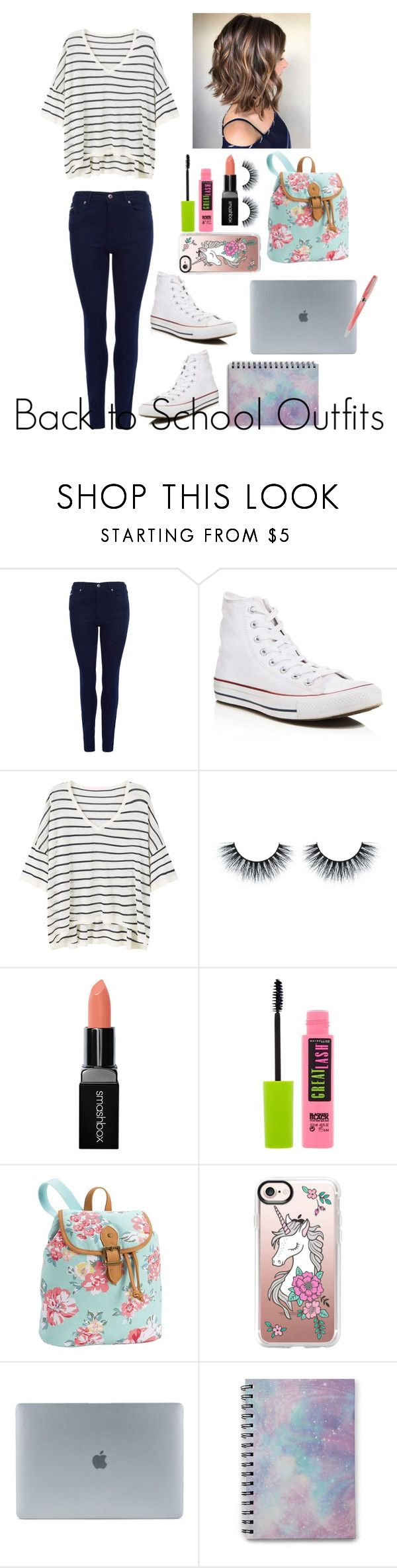 """""""Back to School Outfits #4"""" by gussied-up ❤ liked on Polyvore featuring Barbour International, Converse, MANGO, Smashbox, Maybelline, PBteen, Casetify, Incase, Forever 21 and Montegrappa"""