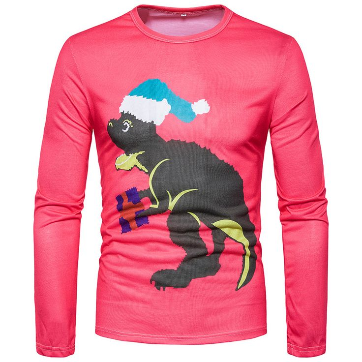Ugly men s christmas 3d printed t shirts long sleeve funny tops dinosaur rabbit 03