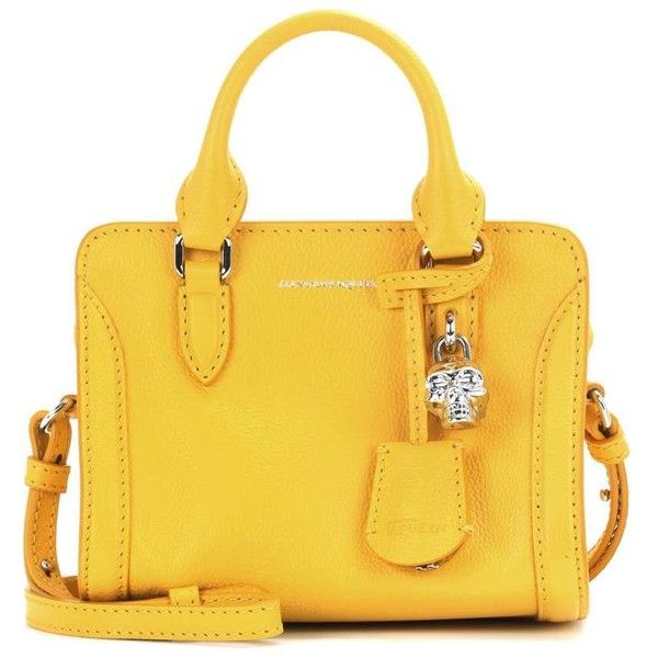Alexander McQueen Padlock Mini Leather Shoulder Bag ($835) ❤ liked on Polyvore featuring bags, handbags, shoulder bags, yellow, yellow leather handbag, yellow leather shoulder bag, genuine leather purse, shoulder handbags and leather purses
