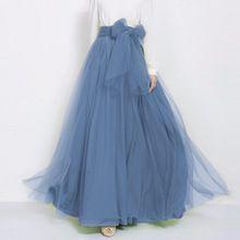 2017 Dusty Blue Rok Faldas Haute Couture Lolita Lange Tutu Rok Met Boog Maat Longa Saias(China)