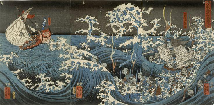 Utagawa Yoshikazu, Minamoto no Yoshitsune Encounters the Ghost of Taira no Tomomori, 1848-51
