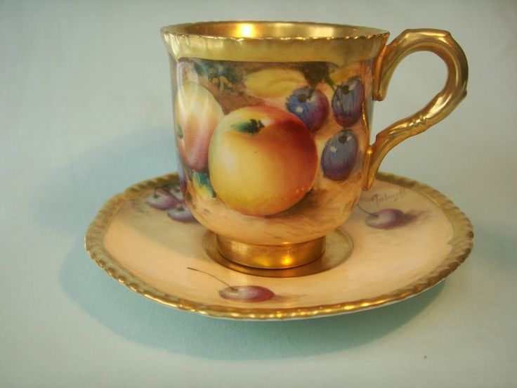 Royal Worcester Demitaase 'Fruit' Cup Saucer with Gadrooned Edge By Roberts