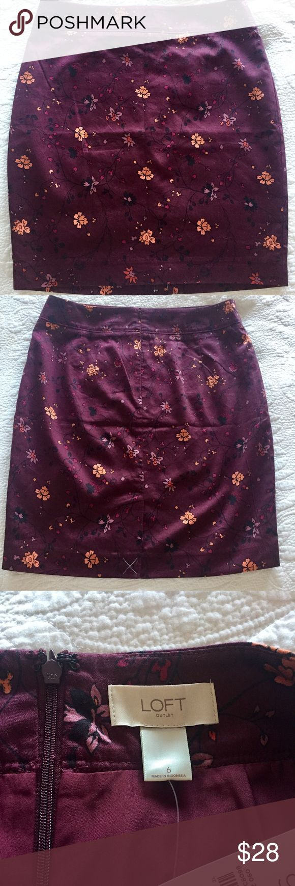 """🆕 LOFT Pencil Skirt An absolutely stunning pencil skirt by LOFT.  A 100% cotton fully and fully lined with 100% polyester makes this skirt a beautiful and must have addition to your wardrobe!  This skirt is 20"""" in length and sits on the hips. A beautiful wine burgundy color with coral, magenta and lavender flowers on black vines.  Size 6. NWT LOFT Skirts Pencil"""