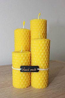 Svietidlá a sviečky - Sviečka zo 100% včelieho vosku - Točená - 4ks - 7271289_