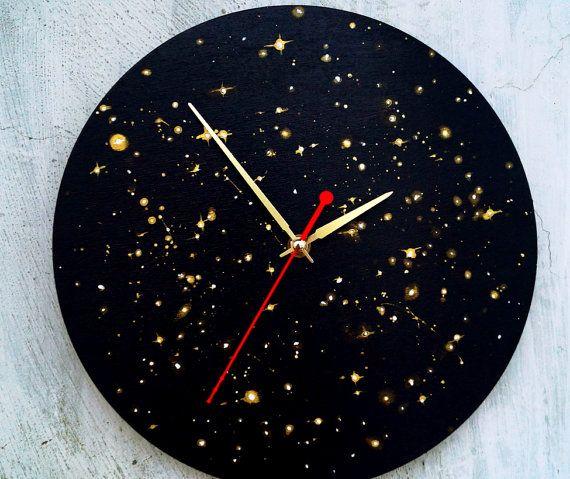 Wooden wall clock Star Sky  Stars acrylic от ClockArtVintage