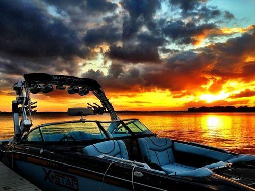 Beautiful pic of a 2013 @Malibu Boats Wakesetter at sunset #boating