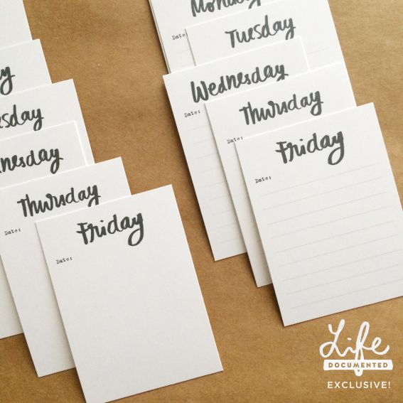 "3×4 ""DAYS OF THE WEEK"" Printable Journal Cards are great for little notes. See more free printable journal cards here:"