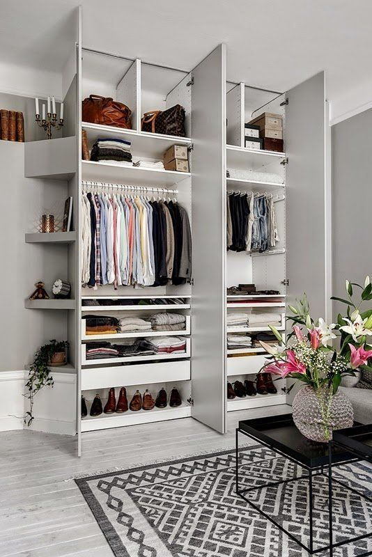 Beautifully Organized: Closets Built in. Another lovely one from My Scandinavian Home, this shallow built-in wardrobe is perfect for a studio, or even a larger home. Clothing storage doesn't have to be in the bedroom, after all.