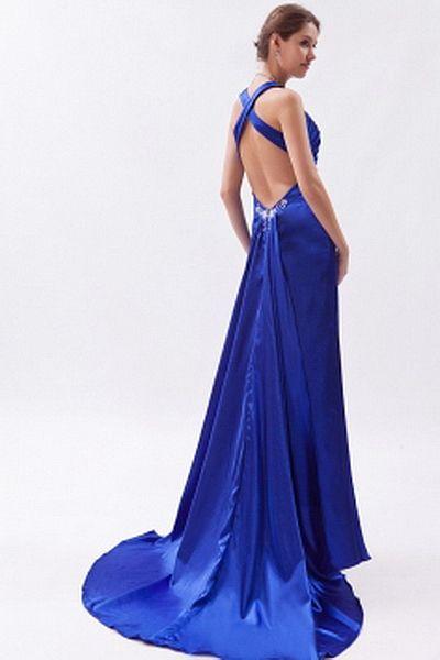 Robes De Satin Bleu Partie D'Une Ligne rdc1895 - Silhouette: Une Ligne-; Tissu: Satin, Embellissements: Perles, Cristal, Froncé,, Longueur: Balayage / Pinceau Train - Price: 147.51 - Link: http://www.robesdeceremonies.com/robes-de-satin-bleu-partie-d-une-