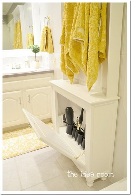 keep all the hair tools in a DIY cabinet (box) with an extension cord right there and handy