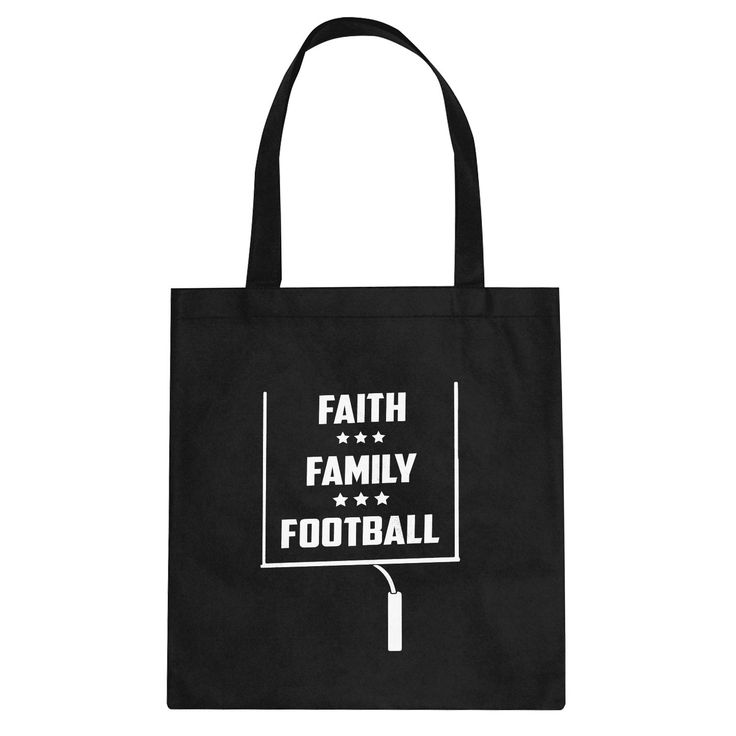 Faith Family Football Canvas Tote Bag
