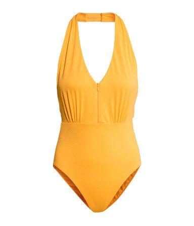 Canary yellow swimsuit. HM. #HMSWIM
