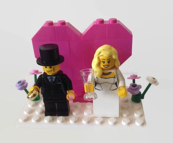 Lego Wedding Cake Topper Pink Heart Gift Favor Made To Order Choose Ring Flowers Glasses Customised