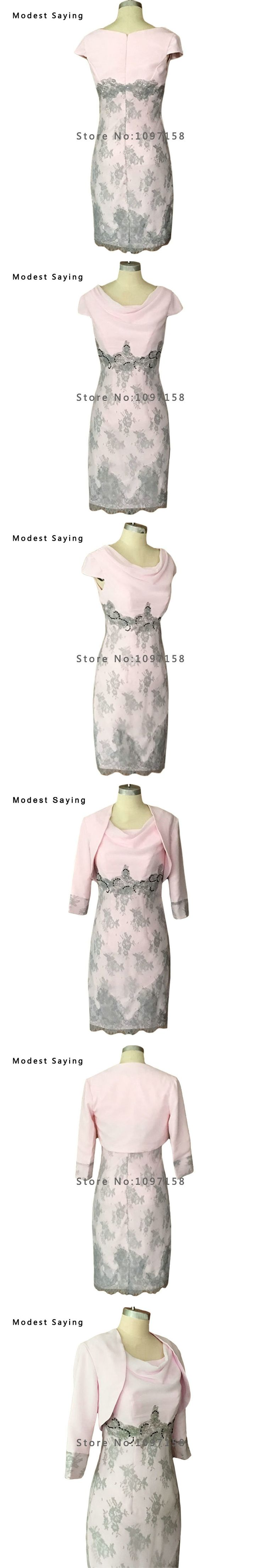 Modest Pink Chiffon Beaded Lace Mother of the Bride Dresses 2017 3/4 Sleeve Jackets Knee Length Prom Gowns robes de soiree DM4
