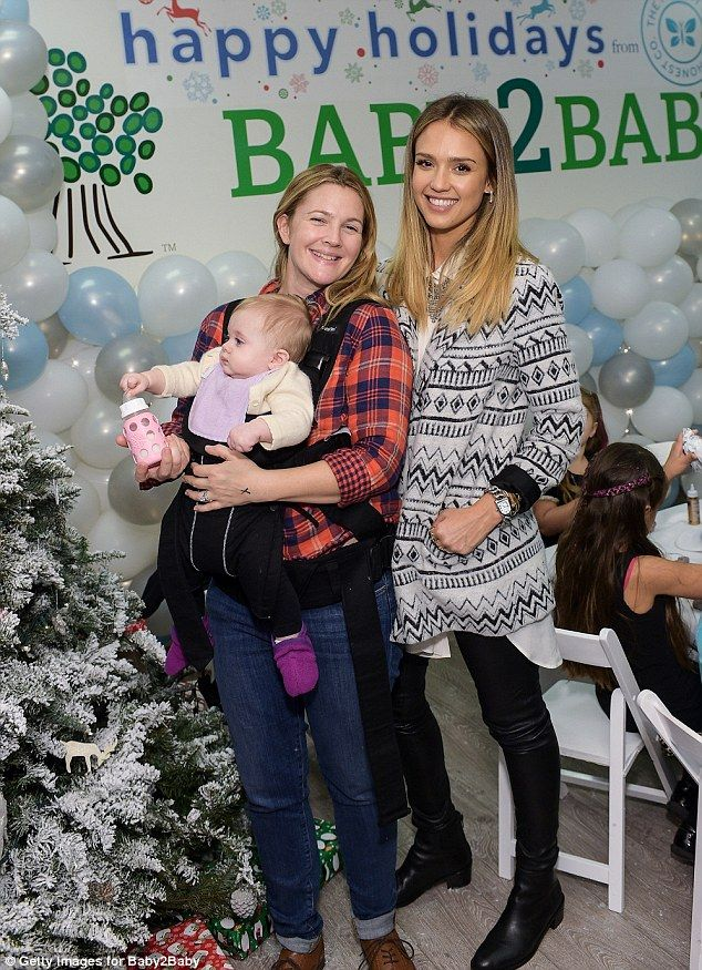 Happy holidays, indeed! Drew took a smiling snap with The Honest Company's Jessica Alba, r... Sourced : Dailymail.co.uk