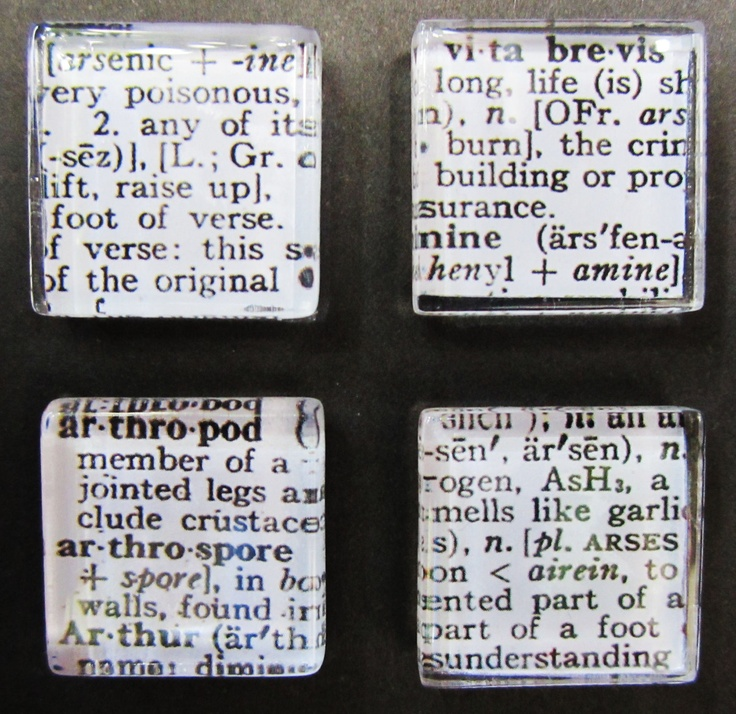 Dictionary Glass Magnet Set for glass, magnets, adhesive: http://www.ecrafty.com/c-81-craft-supplies.aspx