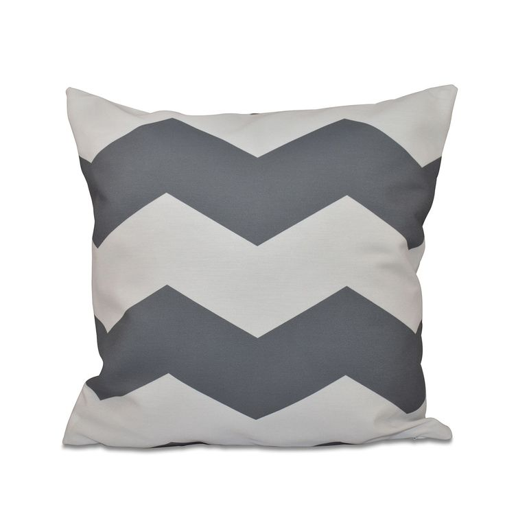 E by Design 26 x 26-inch Large Chevron Stripe Print Decorative Throw Pillow (Flax-26), Beige Off-White