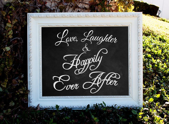 Wedding Chalkboard Sign  Love Laughter & Happily by SarahSaysSew, $140.00