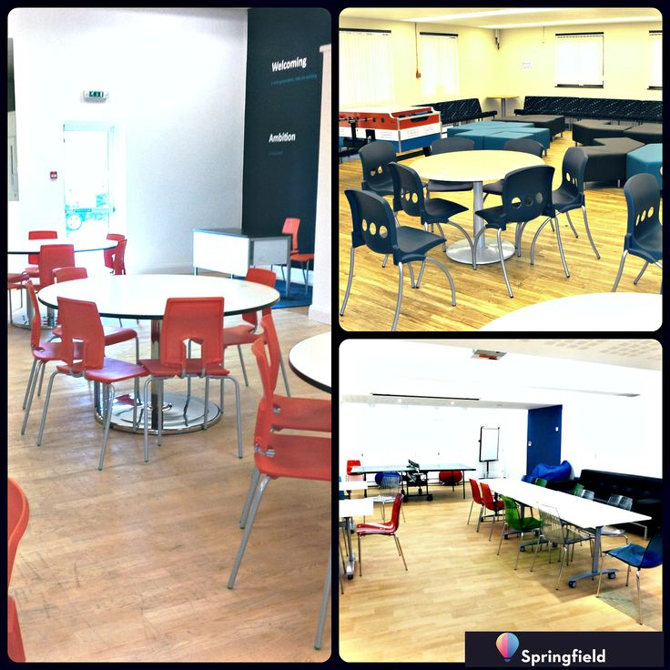 Sixth form area at a school in Dursley, Gloucestershire (big left). Busy sixth form space Yate, Bristol(top right). Basement sixth form in Kengsington, London - light and airy (bottom right).