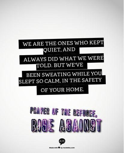 Prayer of the Refugee - Rise Against #lyrics