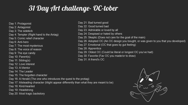 I made my own prompts for OC-tober, where you can draw ur existing OCs or design new ones! Feel free to do it too!