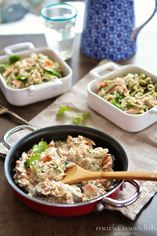 Pasta with Salmon & Creamy Blue Cheese Sauce | recipe on FamilyFreshCooking.com