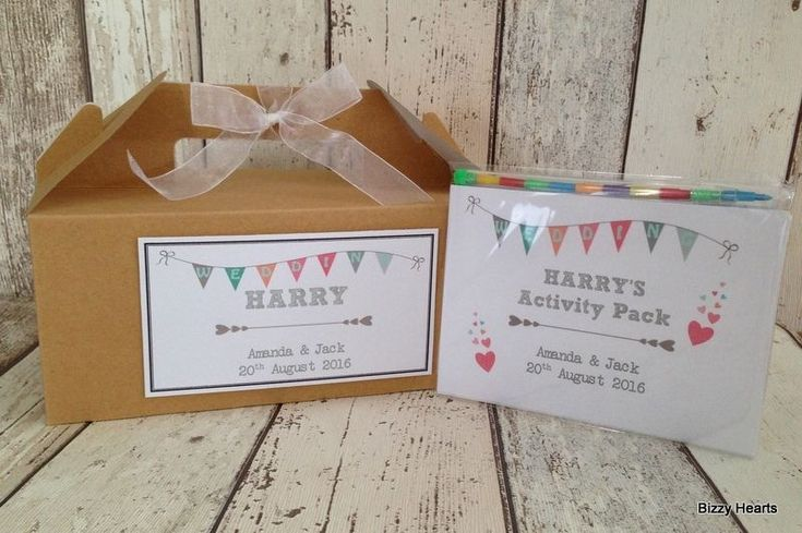 PERSONALISED CHILDRENS ACTIVITY BOX & PACK WEDDING FAVOUR GIFT BOX BAG BROWN | eBay