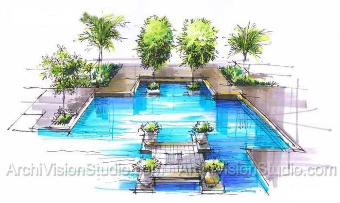 Swimming pool sizes sketch pinterest architectural for Swimming pool drawing