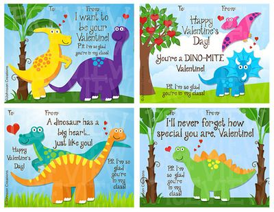"""Dinosaur Valentines from JohnsonCreations from JohnsonCreations on TeachersNotebook.com (2 pages)  - There are four cute """"Dinosaur Themed"""" Valentines in this set. They can be given to classmates or from a teacher to his/her students. The P.S. says... """"I'm so glad you're in my class!"""" Happy Valentine'"""
