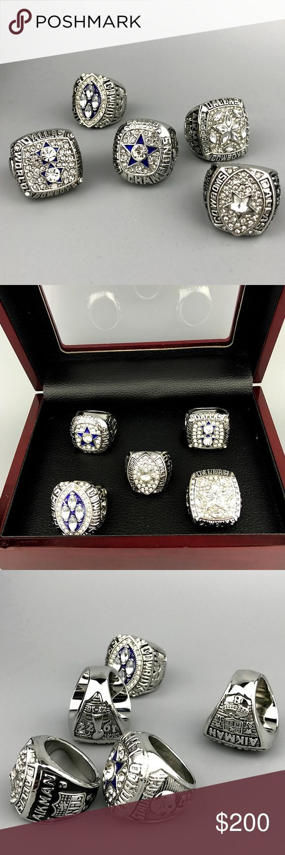 Dallas Cowboys Fan Edition Championship Ring Set 🏆🏈🏆 Perfect gift for the Cowboys fan in your life. This set is silver with exquisite cubic zirconias. One for each of the Cowboys 5 championships. Cimes with the wooden disay box to display when not being worn. Perfect for game day especially when paired with a jersey.🏆🏈🏆 Accessories Jewelry