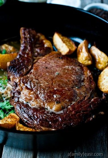 Perfect Pan-Seared Steak. Made this with Ribeye and it was great! I would probably cook it for less next time. Only an additional minute after the basting and flipping.