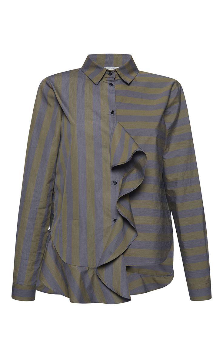 Striped Popeline Rouche Shirt by MARCO DE VINCENZO for Preorder on Moda Operandi