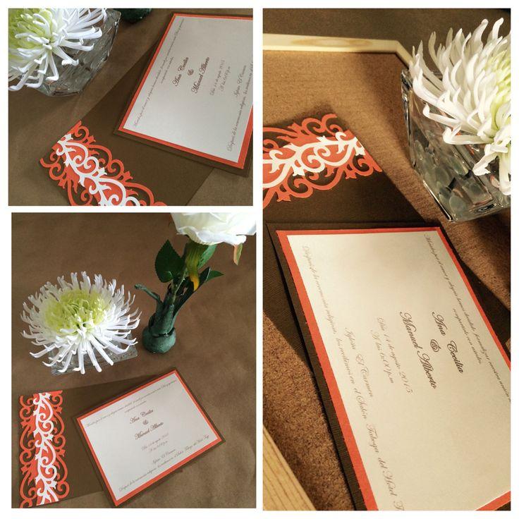 Invitación de boda con detalles troquelados @jyrfestividadesymas