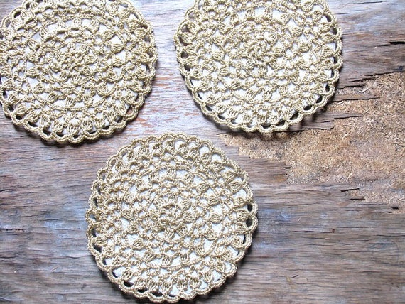 Quilted  Set   Crocheted Coasters Mug Mats by recyclingroom, $25.00
