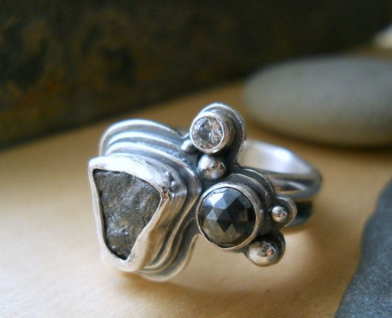 raw diamond cluster ring, set in sterling silver .925, size 7, silver pyrite, white sapphire, conflict free,ready to ship
