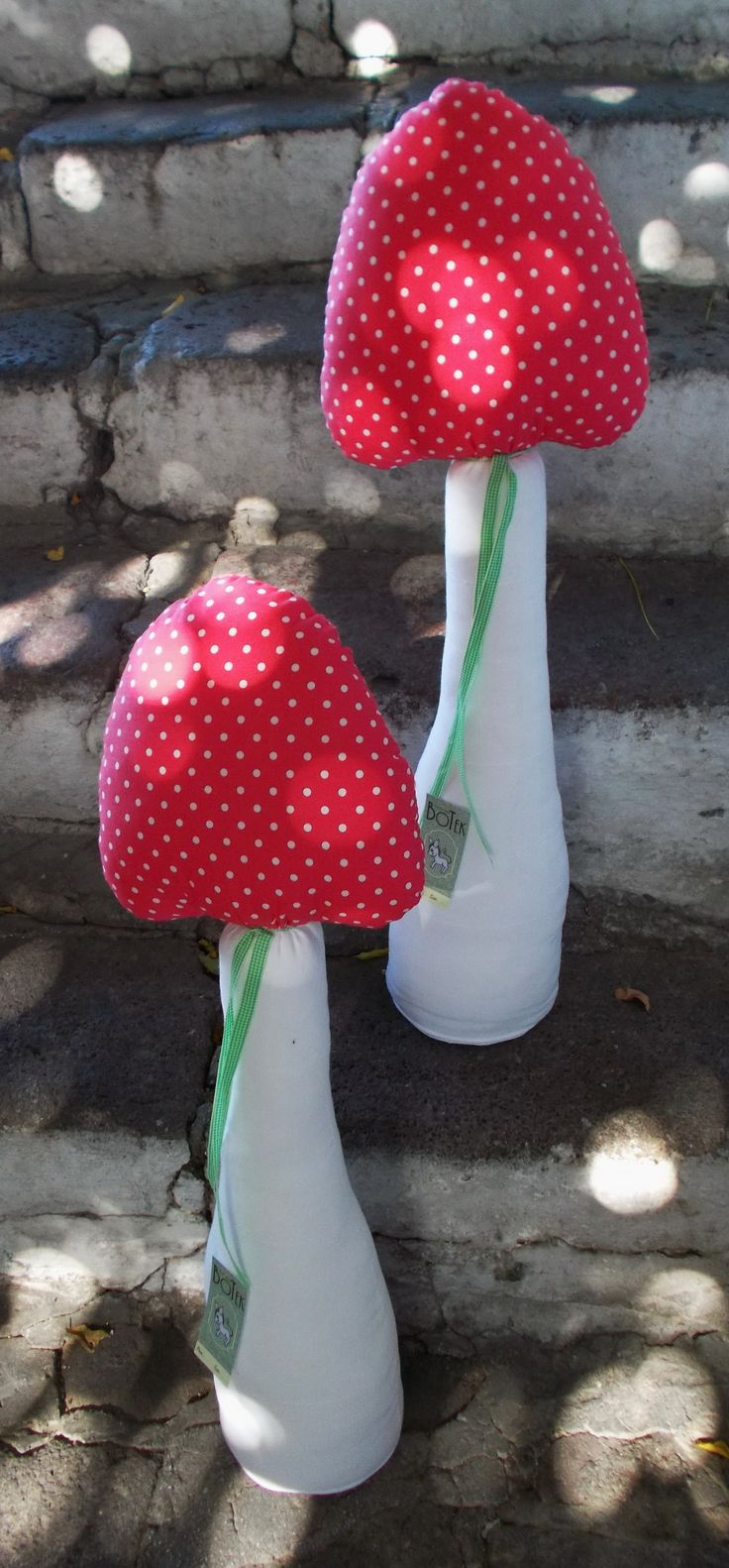 Mushroom Door-stoppers made for Menta our local florist and event-planner for a christening in Molyvos