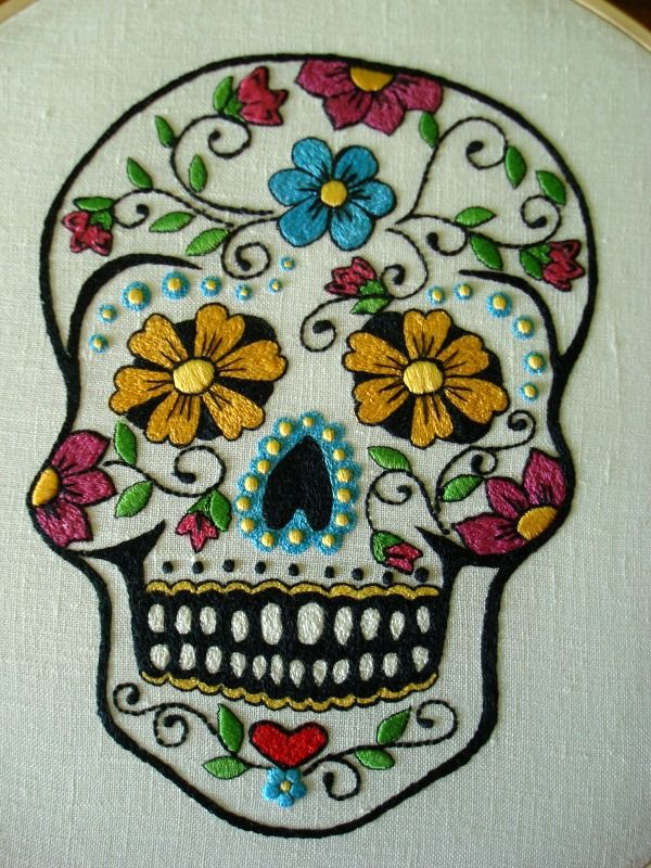 Hace tiempo que tenía muchas ganas de bordar esta calavera mexicana.      Tenía el dibujo guardado en el tablero de Pinterest y ca...