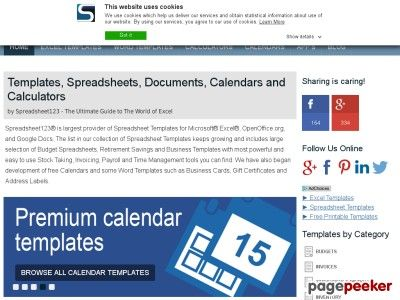 cool Excel Templates, Spreadsheets, Calendars and Calculators by Spreadsheet123