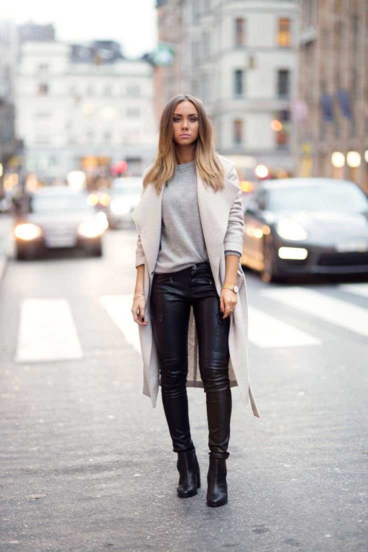 Women's Beige Coat, Grey Crew-neck Sweater, Black Leather Skinny Jeans,  Black Leather Ankle Boots. Fashion FallStreet ...