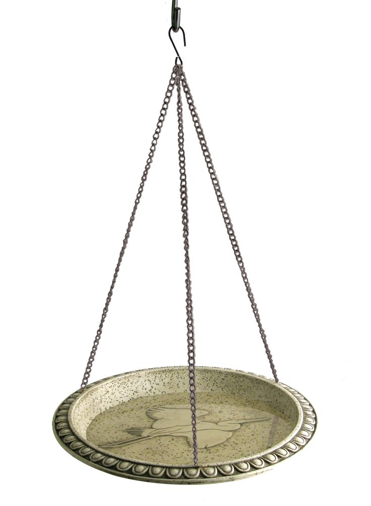 NA32350 Poly resin bird bath with hand applied weathered stone finish. Includes steel chain with gray powder coat finish.