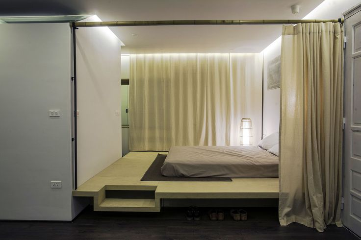 Apartment Renovation under Hanoi Bedroom Interior Among Floating Bed Frame Design Ideas Made From Wooden Material as Home Inspiration