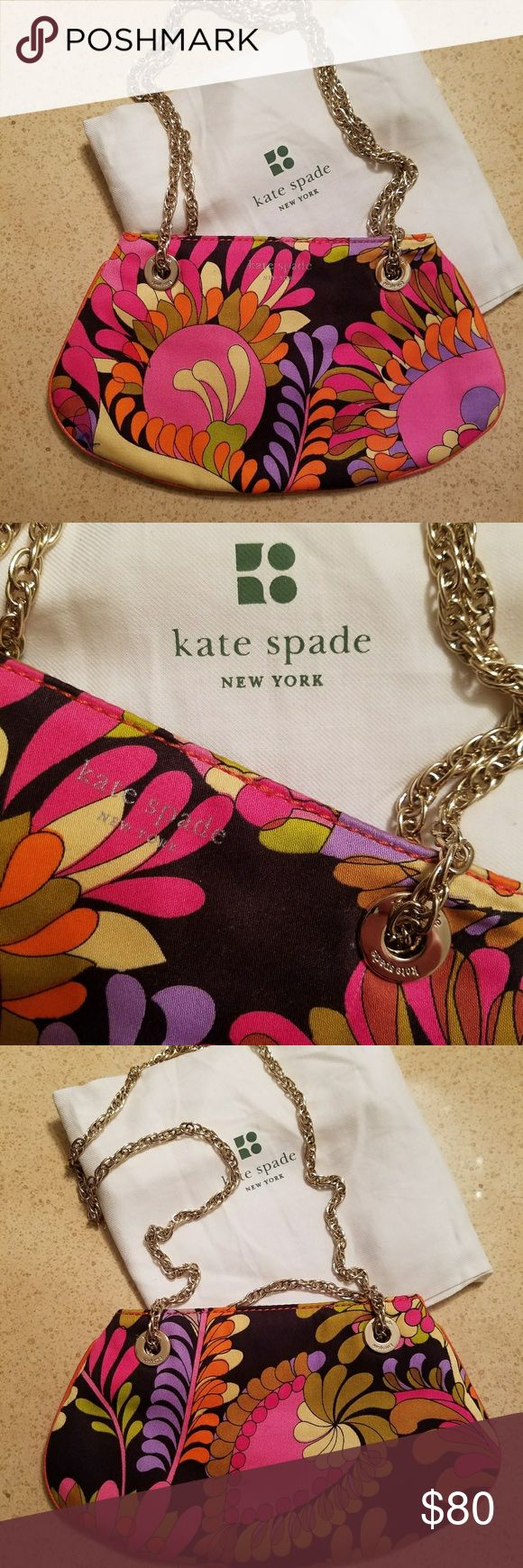 KATE SPADE small floral shoulder bag Vibrant floral envelope bag with leather trim and gold hardware. In perfect condition dont think I even wore it once! Dustbag include. Slit pocket inside. kate spade Bags Shoulder Bags