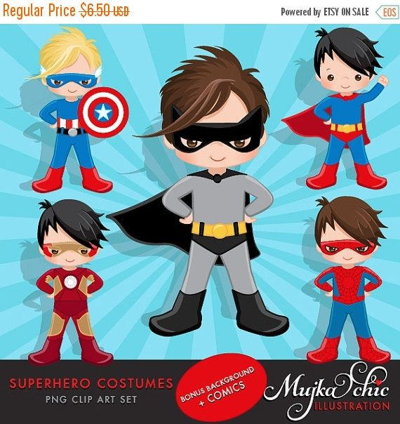 Superhero Costumes Clipart and Backgrounds Bundle. by MUJKA
