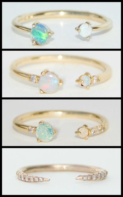 OH MY GOD. WWAKE's open gold and opal rings, some with diamonds and opalite.