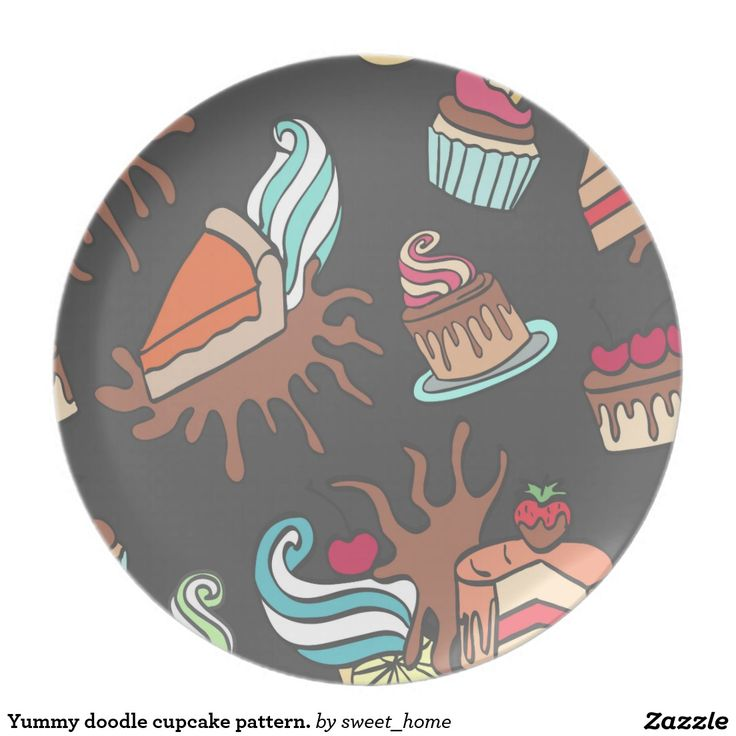 Yummy doodle cupcake pattern. plate Sweet pretty cup cake illustration. Cartoon style. For home design and decor. Beautiful home accessories ideas.