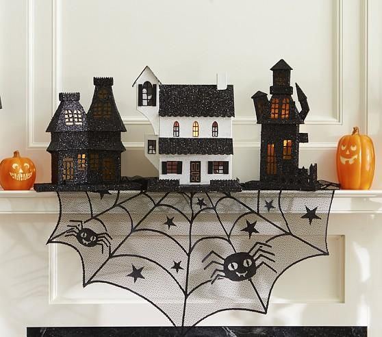 ideas inspirations light up haunted house halloween decorating ideas paper mache houses with orange cellophane in the windows light with christmas - Pottery Barn Halloween Decorations