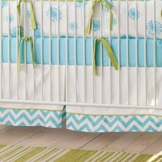 Aqua Dandelion Crib Skirt - Baby Bedding - atlanta - by Carousel Designs