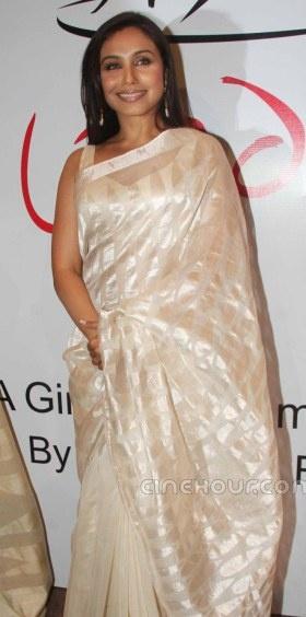 Rani Mukherjee in an ivory Chanderi