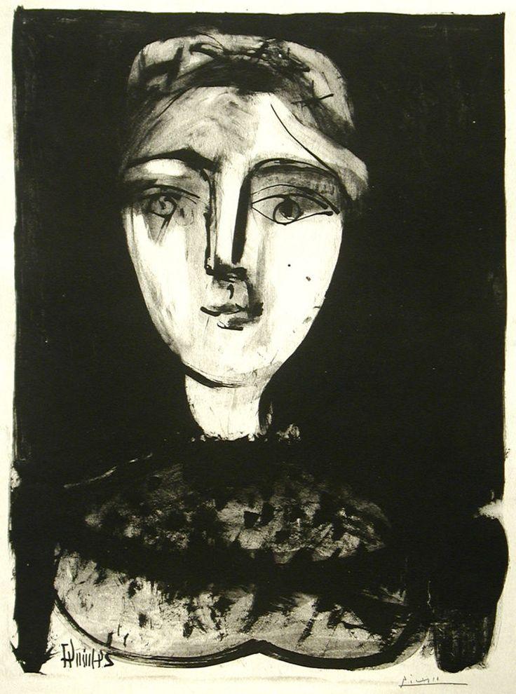 Tete de Jeune Femme, 24 June 1947 - Pablo Picasso.                                                                                                                                                                                 Mais