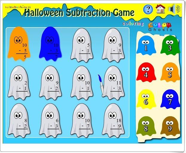 """""""Halloween Subtraction Game"""" es un bonito y sencillo juego, de softschool.com, en el que se han de colorear los fantasmas con el color del resultado de las restas que expresan. Para que los más pequeños practiquen restas sencillas."""